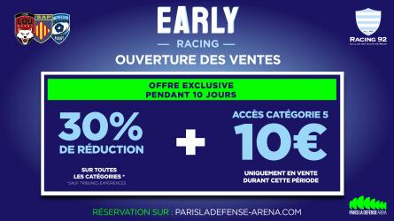 """Racing 92 : profitez des meilleurs tarifs avec l'offre """"Early Racing"""""""